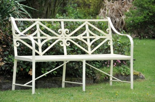 metal garden bench images