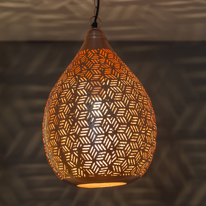 Rose Gold Moroccan Jali Etched Raindrop Hanging Pendant Light