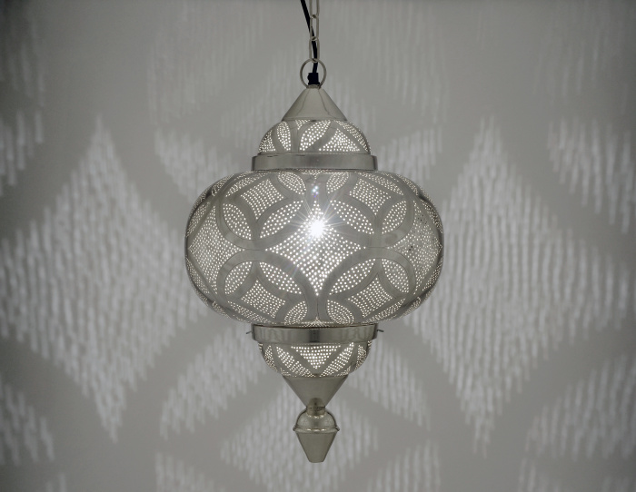 Silver Moroccan Style Etched Matki Hanging Pendant Light