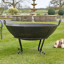 Iron Kadai Fire Bowl with Stand and Handles up