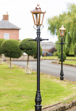 2.3m Copper Victorian Lamp Post Set
