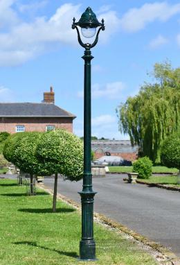 2.5m Verdigris Green Victorian Gothic Cast Iron Lamp Post