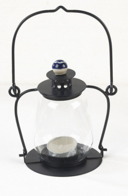 Midnight Blue Garden Candle Lantern