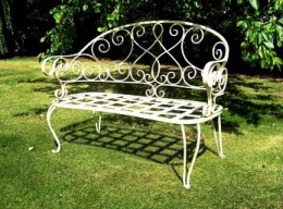 The Clarence Antique White Garden Bench