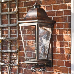 Traditional Black Wall Lantern With Scroll Bracket