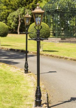 Antique Brass Dorchester Lantern on black Garden Lamp Post