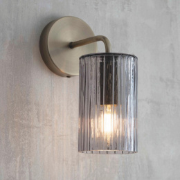 Antique Brass Ribbed Glass Wall Light