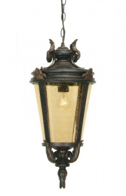 Bronze Baroque Hanging Chain Lantern with Sepia Glass