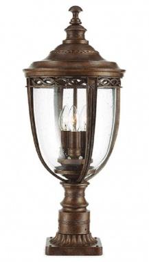 Antique Bronze Pillar Post Light with Seeded Glass Lantern