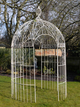 Antique Cream Bird Cage Metal Gazebo In Garden