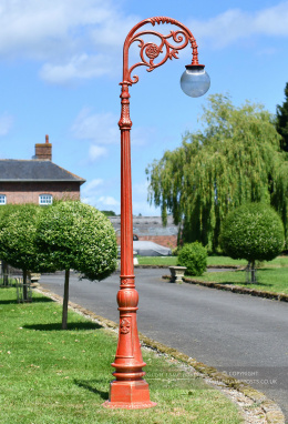 Antique Red Deluxe Victorian Globe Cast Iron Lamp Post