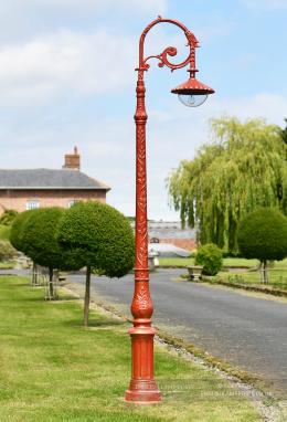Antique Red Parisian Inspired Cast Iron Lamp Post