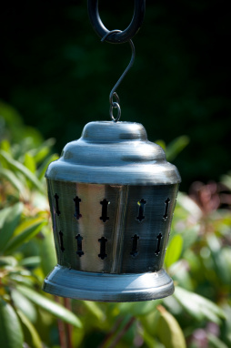 Antique Silver Etched Hanging Candle Lantern