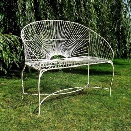 Antique White Sunrise Garden Bench