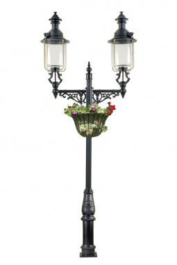 Victorian Double Head Belgravia Lamp Post 4.1m with Flower Basket