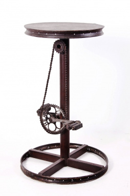 Bar side table made from bike parts