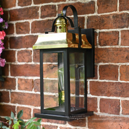 Black and Copper Traditional Suspended Flush Porch Lantern