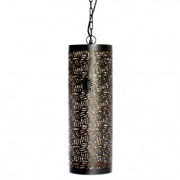 Black and Gold Moroccan Jali Etched Cylinder Hanging Pendant Light