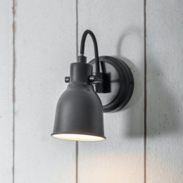 Black Contemporary Swan Necked Wall Light by Garden Trading