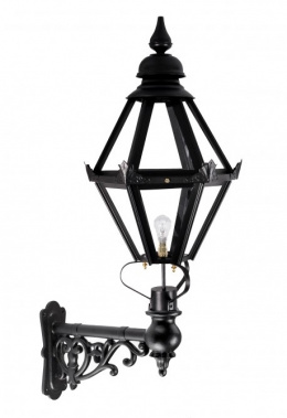 "Deluxe ""Craven"" Black Hexagon Wall Light On Ornate Bracket"