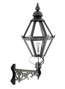 "Deluxe ""Craven"" Black Hexagon Wall Light On Ornate Corner Bracket"