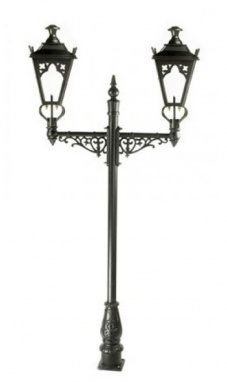 Black Double Head Gothic Garden Lamp Post
