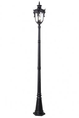 Sleek Black Finish Baroque Garden Lamp Post Set