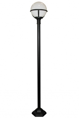 Black Low-Level Garden Lamp Post With Frosted Globe Head