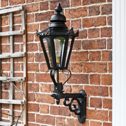 Black Hexagon Lantern On Scrolled Bracket