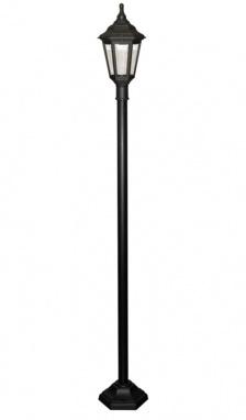 A black hexagonal garden lamp post