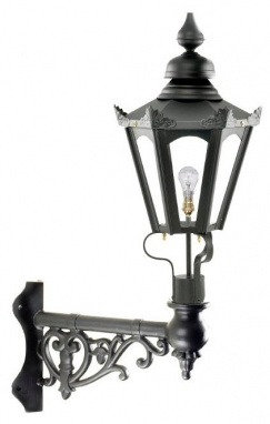 Black Hexagon Wall Light On Ornate Corner Bracket