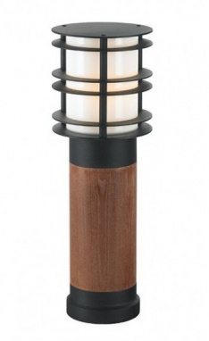 Medium Pine Wood and Steel Bollard Light