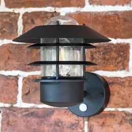 Black Modern Wall Light with Built-In PIR Sensor