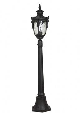 Black Ornate Baroque 1.1m Tall Pillar Post Light