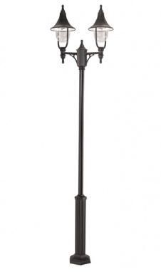 Double head black polymer garden lamp post set