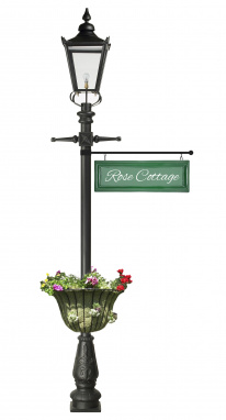 2.7m Black Garden Lamp Post With Hanging Sign and Planter