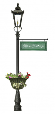 2.3m Black Garden Lamp Post With Hanging Sign and Planter