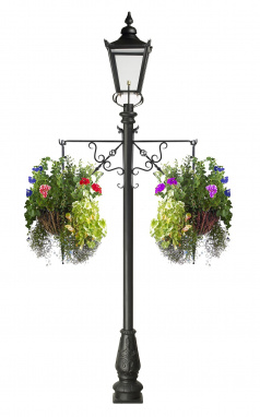 Black Victorian Lamp Post with Traditional Hanging Baskets