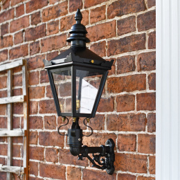 Black Victorian Style Mini Wall Lantern and Bracket