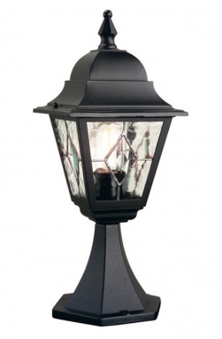 Black Victorian Style Pillar Light With Hand Leaded Glass Panes
