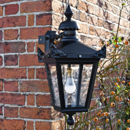 Black Top Fix Wall Lantern With Corner Mount Bracket
