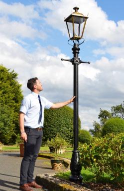 Antique Brass Dorchester Lamp Post Scale Shot