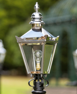 Bright chrome kensington lantern top
