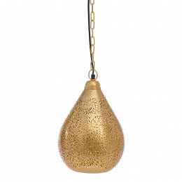 Bright Gold Moroccan Etched Teardrop Hanging Pendant Light