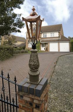 Russet Brown & Copper Mini Victorian Lamp post set