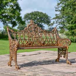 Cast Iron and Wooden Slat Giraffe Garden Bench