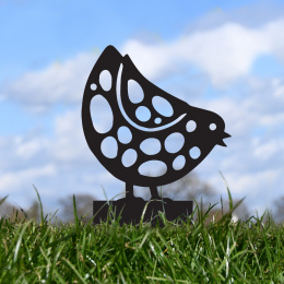 Pecking Chick Garden Sheet Steel Spike Sculpture In Black