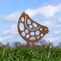 Pecking Chick Garden Sheet Steel Spike Sculpture In Rustic