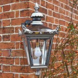 Chrome Top Fix Wall Lantern With Corner Mount Bracket