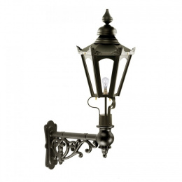 Small Black Hexagonal Victorian Wall Light On Ornate Bracket
